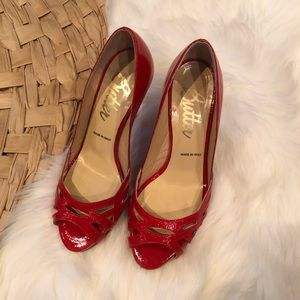 Butter red patent leather peep toe heels 8